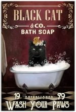 Red Bath Soap Black Cat Wash Your Paws Vertical Poster, Cat Bath soap Poster, Vintage Home Decor, Full Size