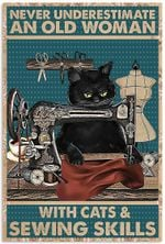 Vintage an Old Woman with Cats and Sewing Vertical Poster Xmas Birthday for Men Women Art Picture No Frame Size
