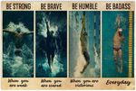 MimiGifts Man Swimming Be Strong Be Brave Be Humble Be Badass Horizontal Poster - Vintage Retro Art Picture Home Wall Decor No Frame Full Size 18x12 24x16 36x24