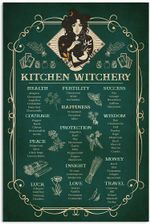 Kitchen Witchery Green Gothic Magic Witch Vintage Wall Decor No Frame Poster Halloween, Christmas, Birthday Gift Idea
