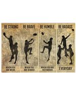 Rugby Silhouette Be Strong When You Are Weak Horizontal Poster Perfect Gift For Men, Women, On Birthday, Xmas, Home Decor Wall Art Print No Frame Full Size