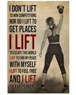 Gym Girl I Lift Vertical Poster Perfect Gifts For Men, Women, On Birthday, Xmas, Home Decor Wall Art Print No Frame Full Size