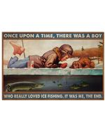Boy Really Loved Ice Fishing Horizontal Poster Perfect Gifts For Men, Women, On Birthday, Xmas, Home Decor Wall Art Print No Frame Full Size