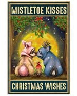 Christmas Poster Lovely Pug Mistletoe Kisses Christmas Wishes Vertical Poster Perfect Gifts For Men, Women, On Birthday, Xmas, Home Decor Wall Art Print No Frame Full Size