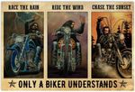 Race The Rain Poster, Funny Biker Motorcycle Racing Racer Horizontal Poster No Frame Full Size for Birthday, Christmas