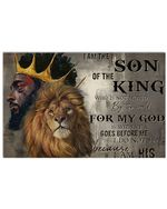 Black King And Lion I Am The Son Of The King Horizontal Poster Perfect Gifts For Men, Women, On Birthday, Xmas, Home Decor Wall Art Print No Frame Full Size