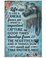 Classic Blue Life Is Like A Camera Vertical Poster Perfect Gift For Men, Women, On Birthday, Xmas, Home Decor Wall Art Print No Frame Full Size