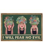 Succulent Girl I Will Fear No Evil Horizontal Poster Perfect Gift For Men, Women, On Birthday, Xmas, Home Decor Wall Art Print No Frame Full Size