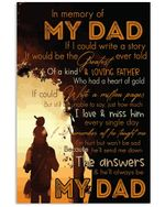 In Memory Of My Dad I Love And Miss Him Vertical Poster Perfect Gift For Dad, On Birthday, Xmas, Home Decor Wall Art Print No Frame Full Size