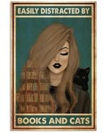 Beautiful Girl Distracted By Books And Cats Vertical Poster Perfect Gift For Men, Women, On Birthday, Xmas, Home Decor Wall Art Print No Frame Full Size