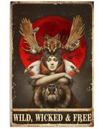 Girl And Animals Wild Wicked Free Vertical Poster Gift For Men, Women, On Birthday, Xmas, Housewarming Home Decor Wall Art Print No Frame Full Size