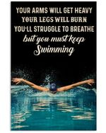 Swimmer You Must Keep Swimming Vertical Poster Perfect Gift For Men, Women, On Birthday, Xmas, Housewarming Home Decor Wall Art Print No Frame Full Size