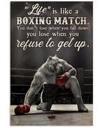 Pitbull Boxing Life Quote Vertical Poster Perfect Gift For Men, Women, On Birthday, Xmas, Housewarming Home Decor Wall Art Print No Frame Full Size