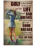 Female Golfer Golf Is Life Vertical Poster Perfect Gift For Men, Women, On Birthday, Xmas, Housewarming Home Decor Wall Art Print No Frame Full Size