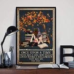 Books and Cat Halloween - Once Upon A Time There was A Girl Who Really Loved Books and Halloween Poster - No Frame