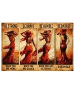 Lady In Red Be Strong When You Are Weak Horizontal Poster Home Decor Wall Art Print No Frame Or Canvas 0.75 Inch Frame Full Size Best Gift For Birthday, Christmas, Thanksgiving, Housewarming