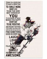 Hockey To Be The Very Best Version Of You Vertical Poster Home Decor Wall Art Print No Frame Or Canvas 0.75 Inch Frame Full Size Best Gift For Birthday, Christmas, Thanksgiving, Housewarming