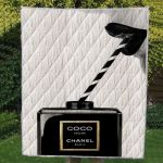 Coco Noir Chanel Paris Black And White Brand Quilt Blanket Great Customized Blanket Gifts For Birthday Christmas Thanksgiving