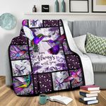 I Am Always With You Hummingbird Purple Fleece Blanket Great Customized Gifts For Birthday Christmas Thanksgiving Perfect Gifts For Hummingbird Lover