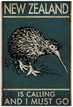 New Zealand Is Calling And I Must Go - Vintage Retro Kiwis Bird Poster No Frame Wall Art House Decor