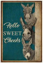 Hello Sweet Cheeks Funny Donkey Nice Arse Toilet Bathroom Decoration Retro Vintage Artwork Wall Home Decor Vertical No-Frame Poster Housewarming Birthday Friend