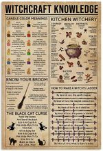 Witchcraft Knowledge Candle Color Meanings Kitchen Witchery Broom Black Cat Curse Witch's Ladder Halloween Artwork Wall Home Decor Vertical