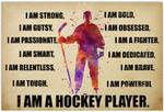 I Am Strong I Am A Hockey Player Artwork Wall Home Decor Horizontal No-Frame Poster Housewarming Birthday Friend