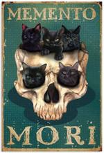 Vintage Skull Kittens Latin Idioms Memento Mori Remember You Must Die Artwork Wall Art Home Decor Vertical No-Frame Poster
