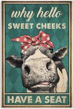 Farm Animal Why Hello Sweet Cheeks Have A Seat Cow Red Ribbon Poster No Frame Wall Art House Decor Rest Room Toilet Decor
