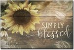 Simply Blessed Sunflower Wood Look Artwork Wall Home Decor Vertical No-Frame Poster Housewarming Birthday Friend