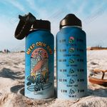 Surfing Skull THZ0508013 Stainless Steel Bottle with Straw Lid