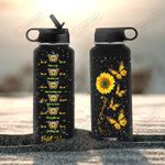 Sunflower Butterfly HAL0308006 KD2 Stainless Steel Bottle with Straw Lid