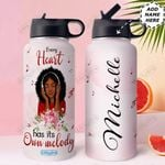 Music Love Black Women Personalized HHE2509010 Stainless Steel Bottle With Straw Lid