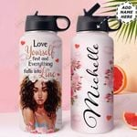 Love Black Women Personalized HHE2509007 Stainless Steel Bottle With Straw Lid