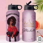 Self Love Black Women Personalized HHE2509012 Stainless Steel Bottle With Straw Lid