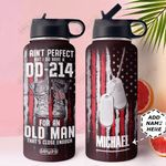 Veteran Personalized MDA3009010 Stainless Steel Bottle With Straw Lid