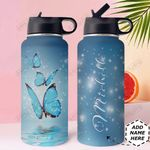 Fantasy Butterfly Personalized HHE0210017 Stainless Steel Bottle With Straw Lid