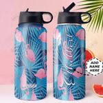 Flamingo Personalized DNE0810004 Stainless Steel Bottle With Straw Lid