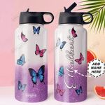Butterfly Personalized DNE0810001 Stainless Steel Bottle With Straw Lid