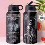 Skull Married Personalized MDA0910023 Stainless Steel Bottle With Straw Lid