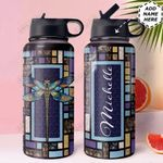 Dragonfly Personalized HTQ1210004 Stainless Steel Bottle With Straw Lid