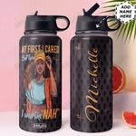 Black Women Personalized HHW1310002 Stainless Steel Bottle With Straw Lid