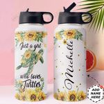 Turtle Personalized HTR1310004 Stainless Steel Bottle With Straw Lid