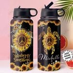 Turtle Sunflower Personalized HTR1610008 Stainless Steel Bottle With Straw Lid