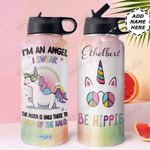 Unicorn Personalized DNC1710004 Stainless Steel Bottle With Straw Lid