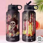 Skull Personalized DNC1610005 Stainless Steel Bottle With Straw Lid