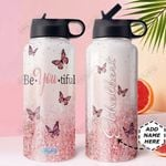 Butterfly Personalized DNE0810002 Stainless Steel Bottle With Straw Lid