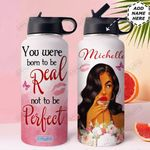 Self Love Black Women Personalized HHE2509011 Stainless Steel Bottle With Straw Lid