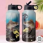 Walleye Fishing Personalized DNA2010005 Stainless Steel Bottle With Straw Lid