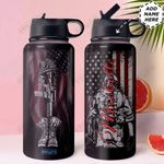 Veteran Personalized HTR1310008 Stainless Steel Bottle With Straw Lid